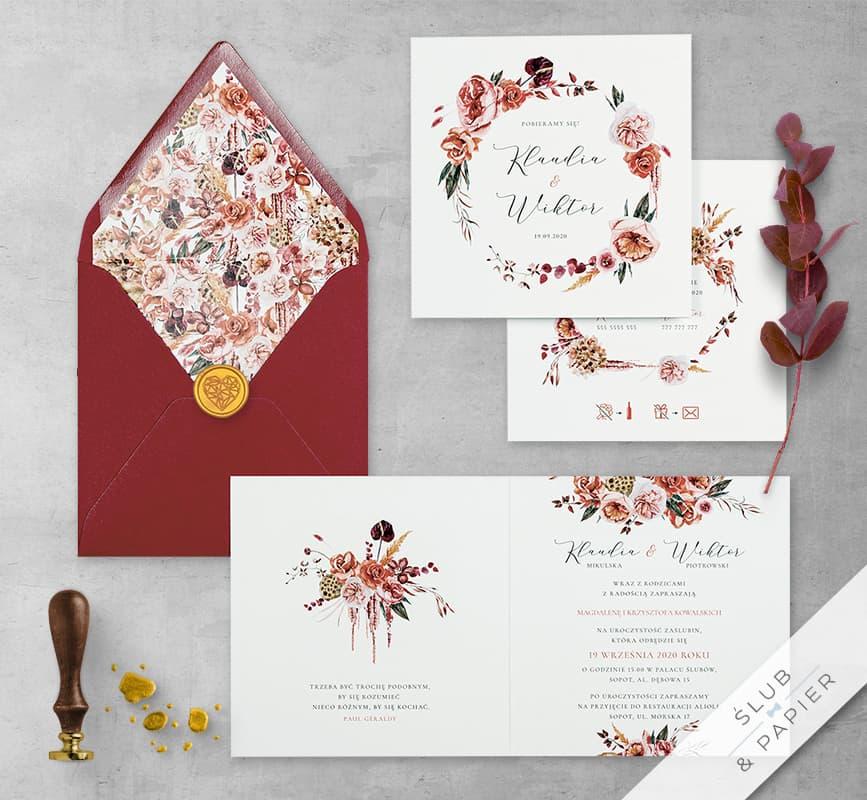 Barwy jesieni zaproszenie ślubne