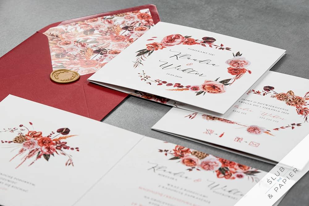 Barwy jesieni zaproszenie na ślub i wesele