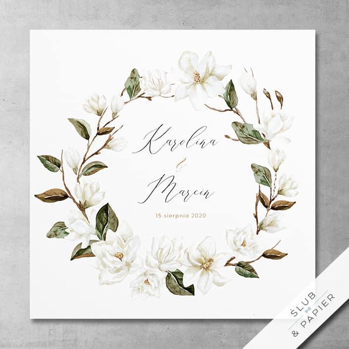 Białe magnolie zaproszenie ślubne