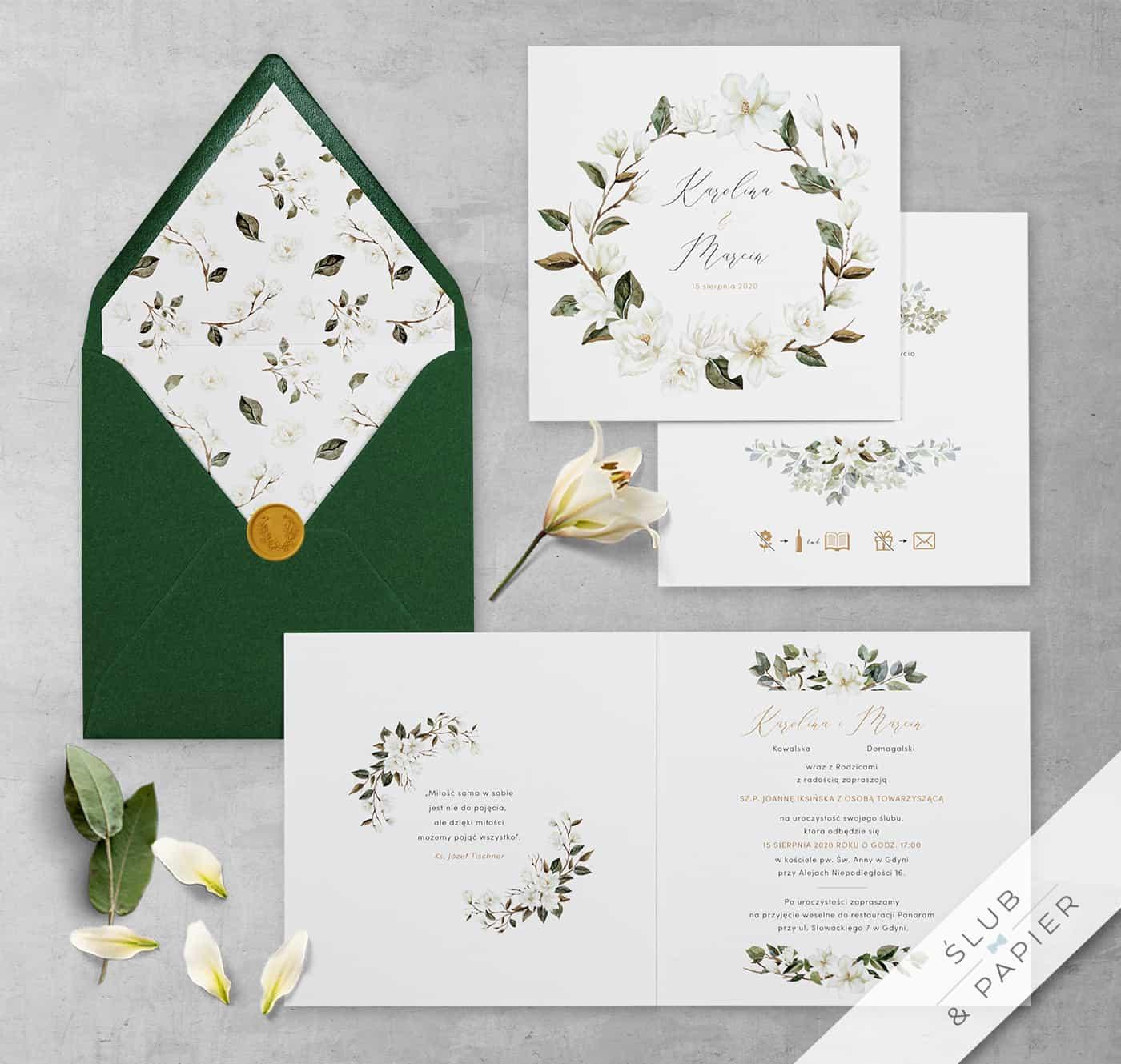 Białe magnolie zaproszenie na ślub i wesele