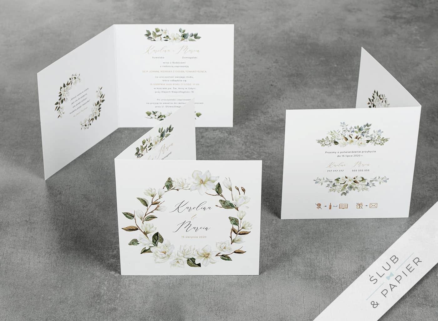 Białe magnolie zaproszenia weselne