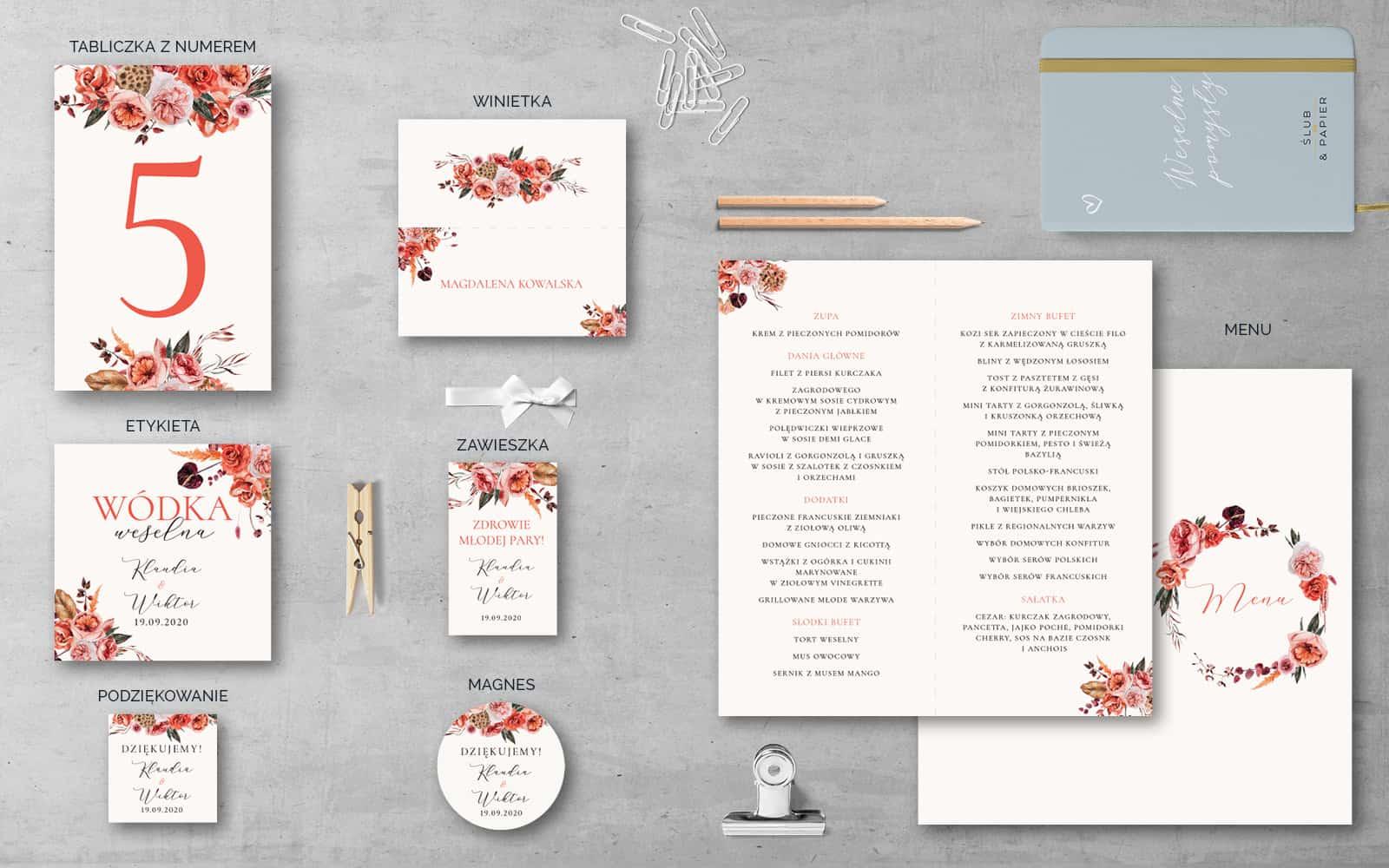 Dodatki weselne do projektu Barwy jesieni