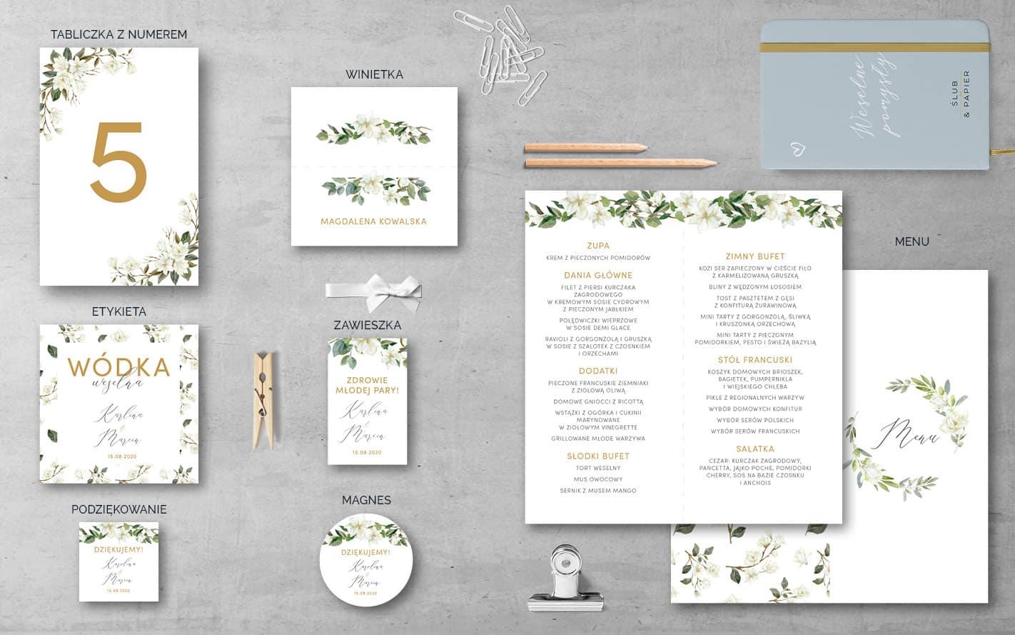 Białe magnolie Dodatki weselne