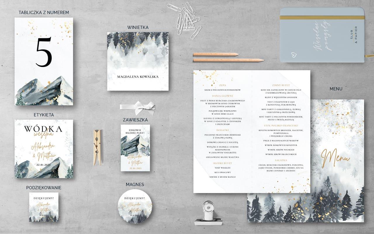 Zimowe góry - Dodatki weselne