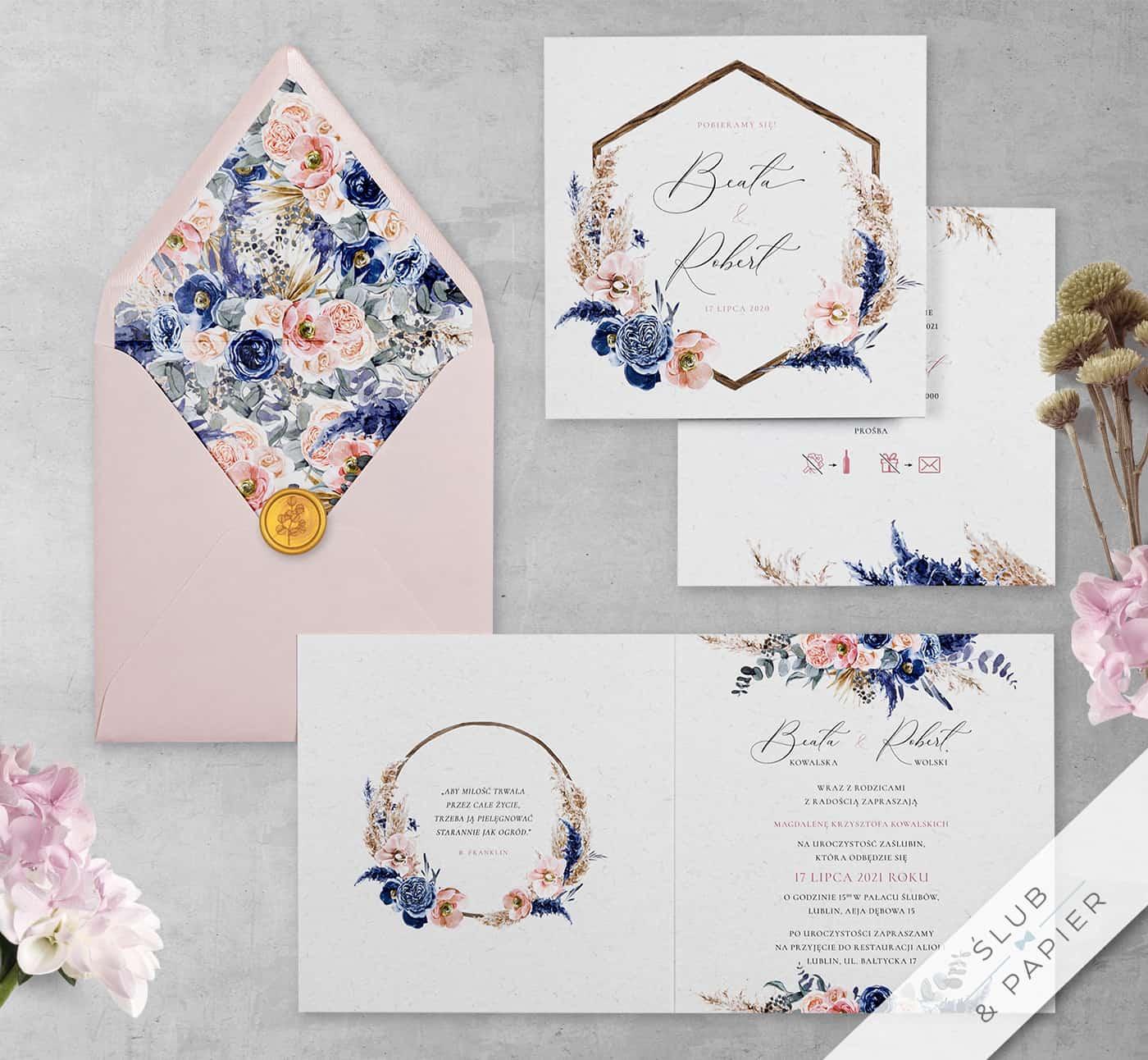 Kwiaty orchidei zaproszenie ślubne
