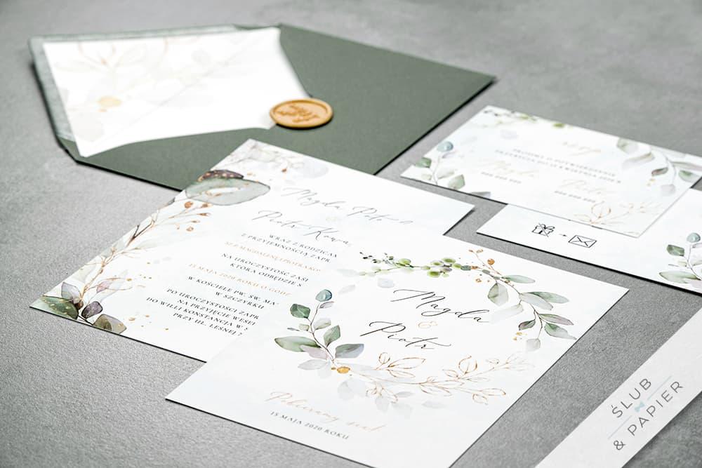 Zaproszenia ślubne Miętowy eukaliptus
