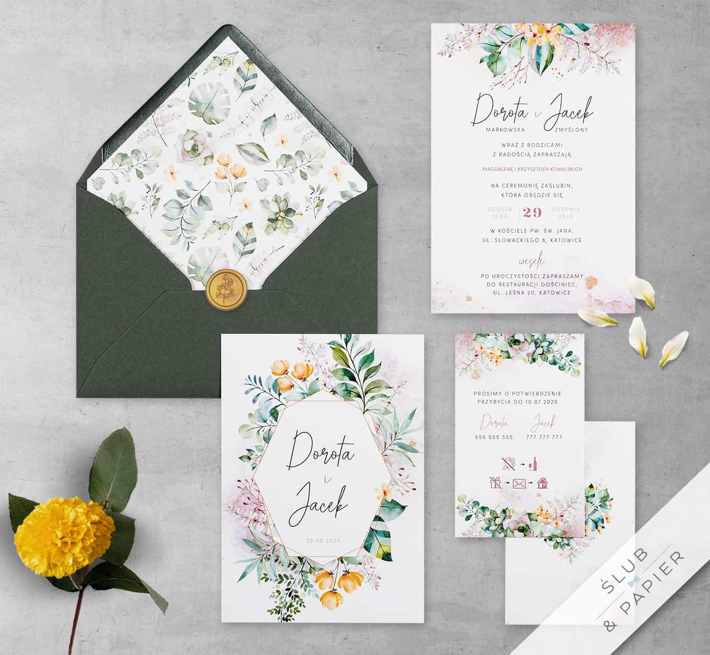 Zaproszenia ślubne - Pastelowe kwiaty