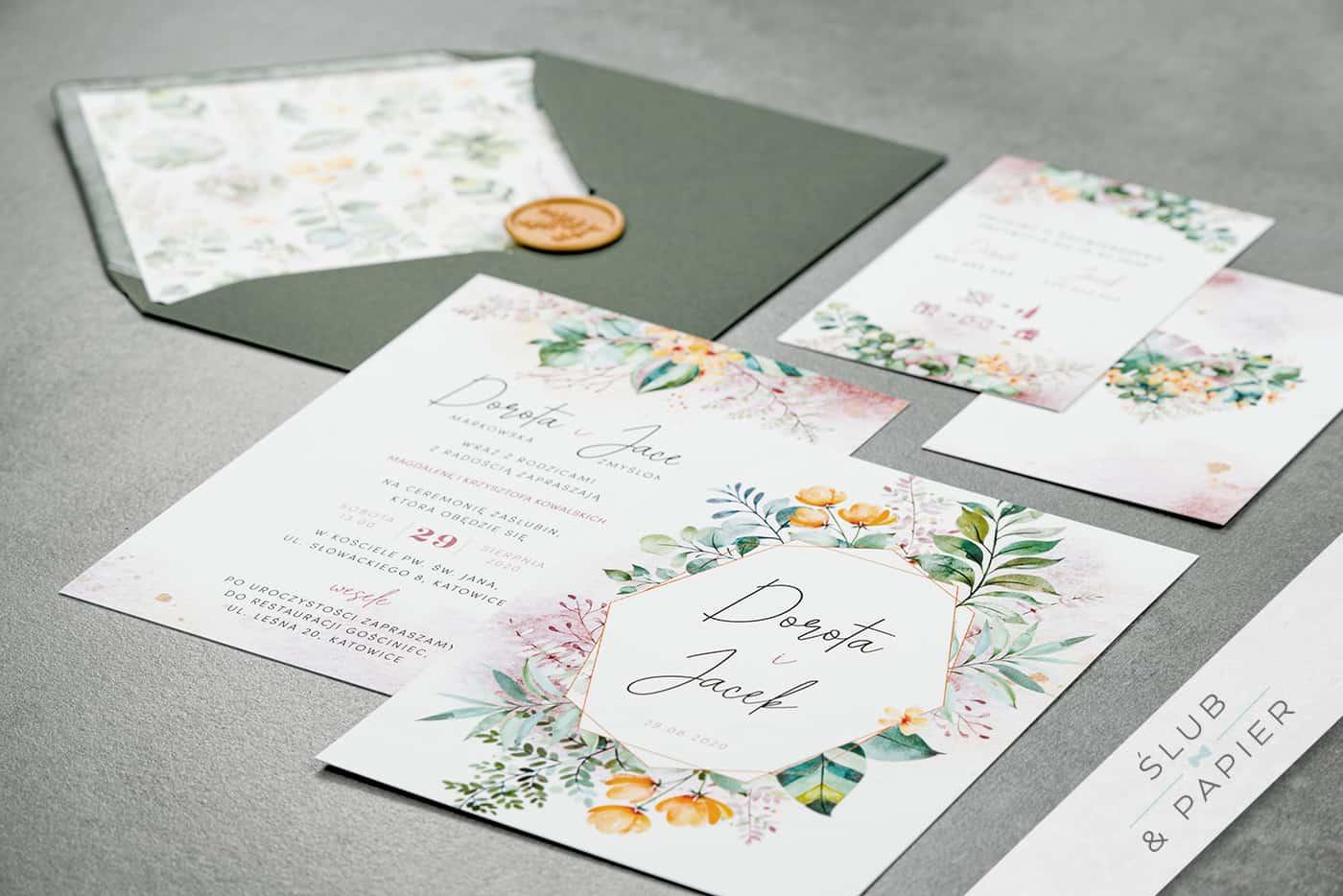 Zaproszenia na ślub i wesele - Pastelowe kwiaty