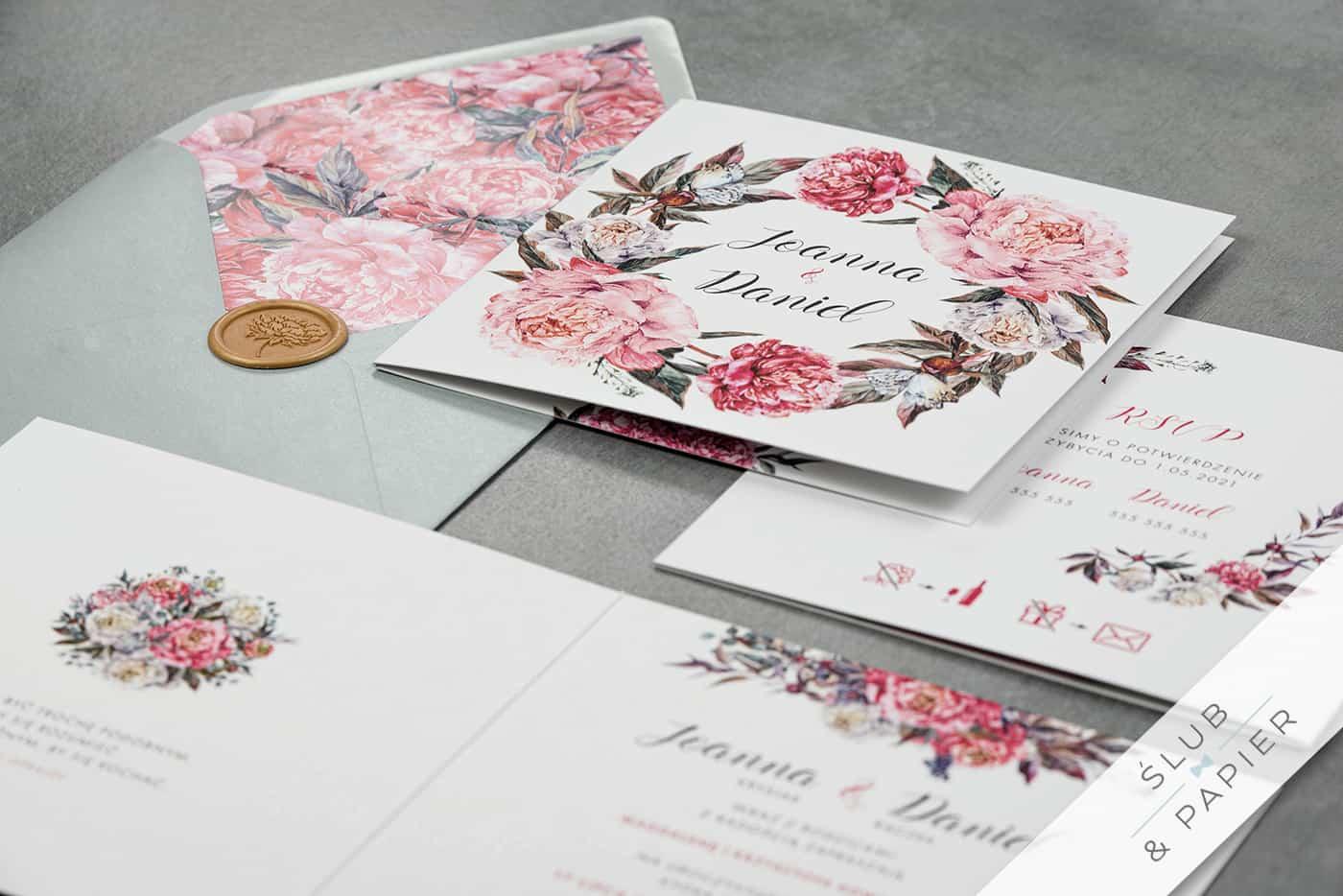 Różowe piwonie Zaproszenia ślubne