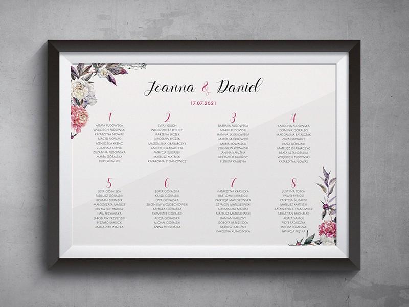 Plan stołów do projektu Różowe piwonie