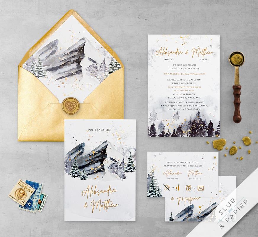 Zaproszenia ślubne Zimowe góry