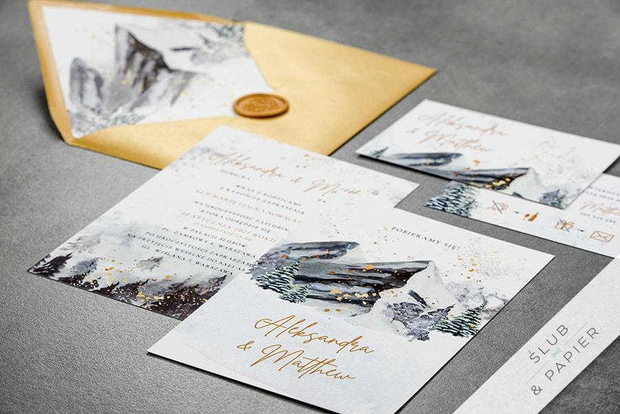 Zaproszenia ślubne Zimowe góry leżące