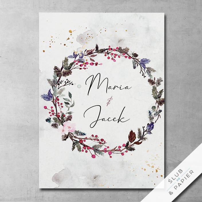 Akwarelowy wianek - Zaproszenia ślubne