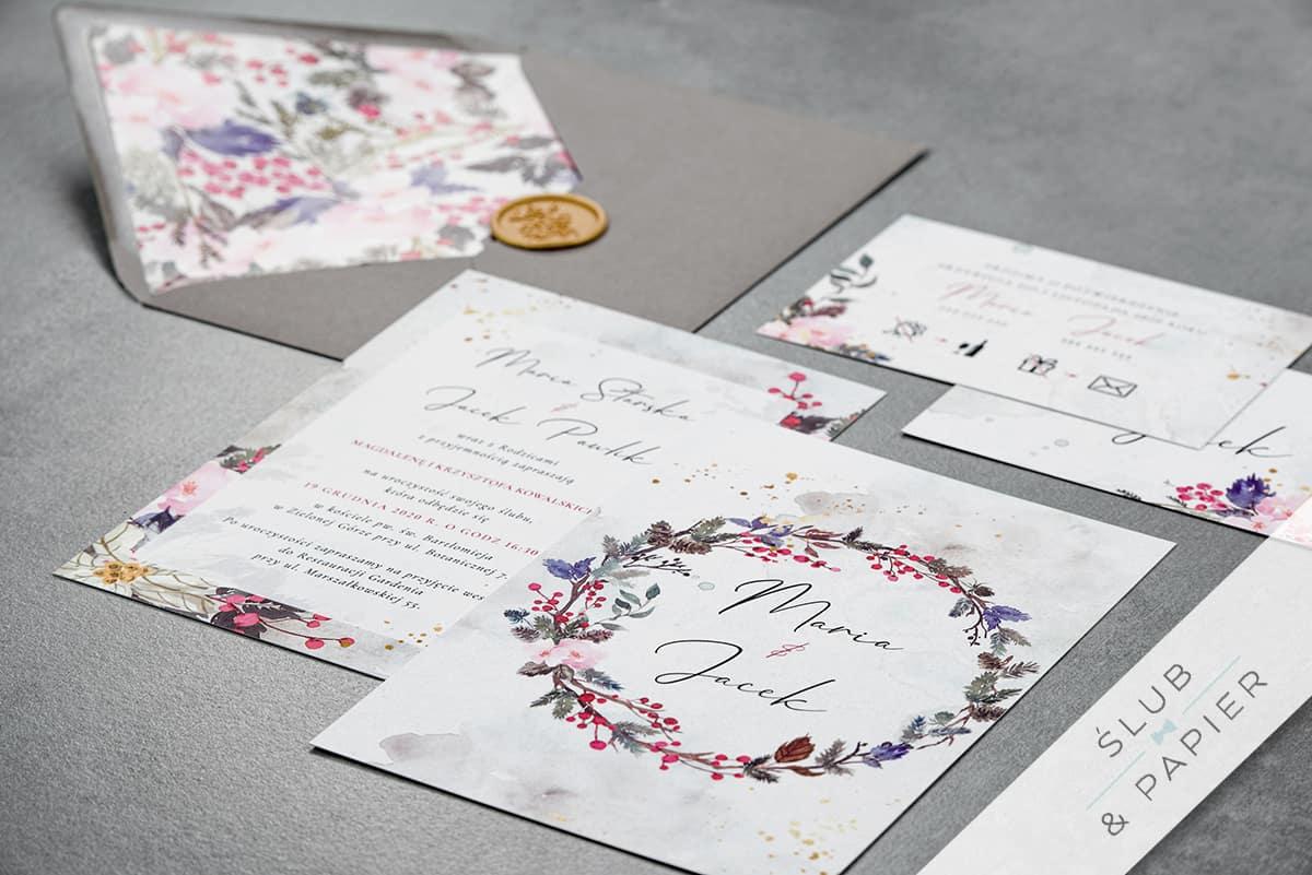 Zaproszenia ślubne z akwarelowy wiankiem