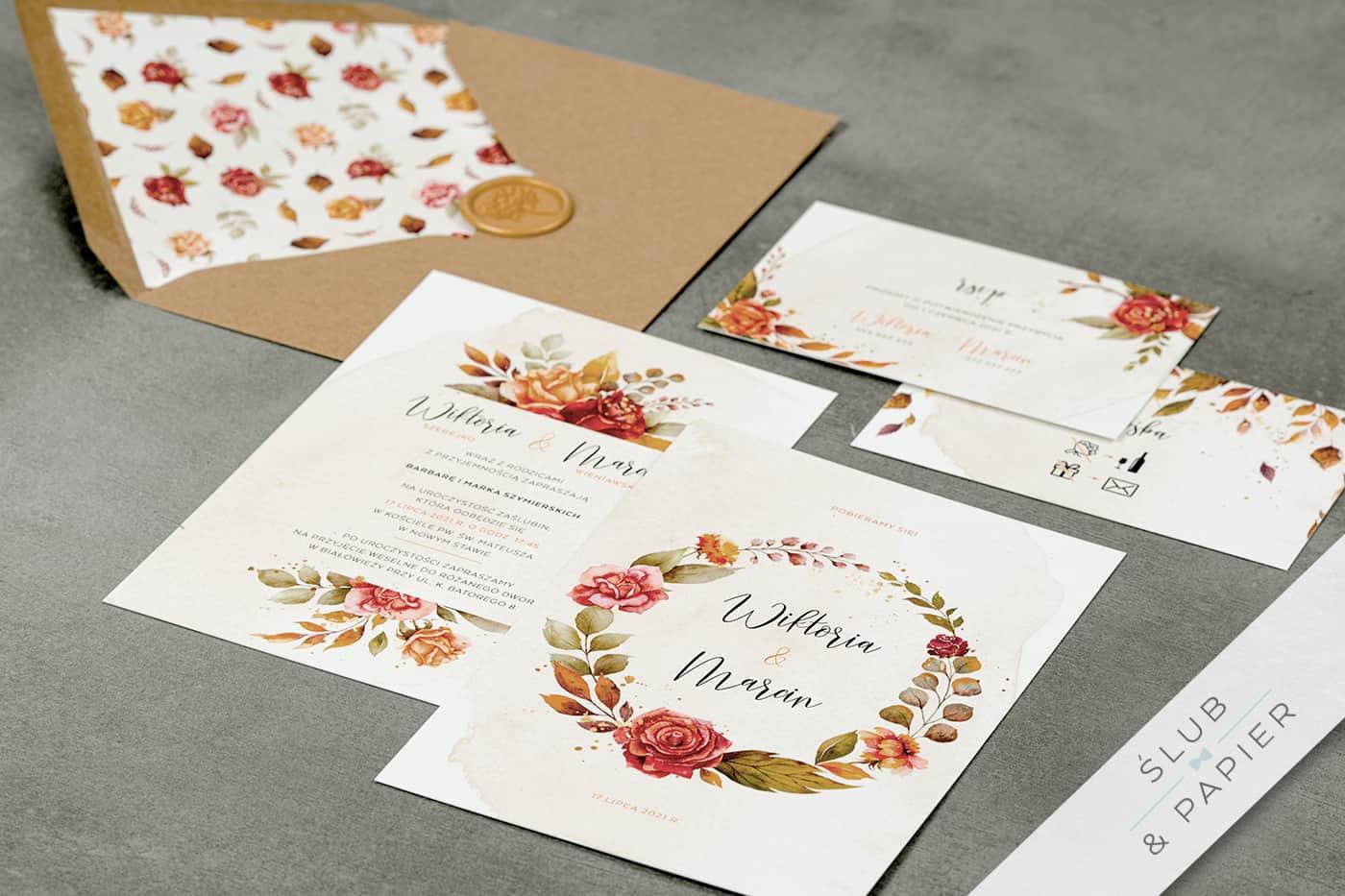 Jesienne róże - zaproszenia ślubne