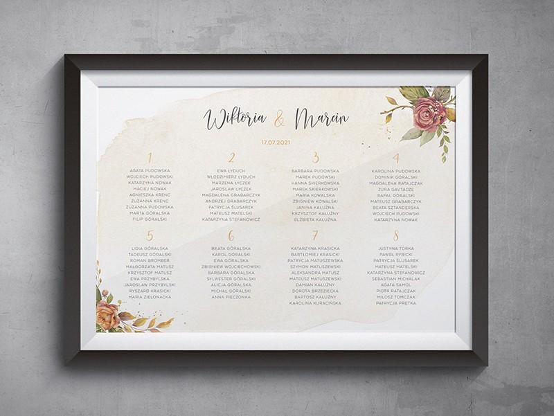 Jesienne róże Plan stołów