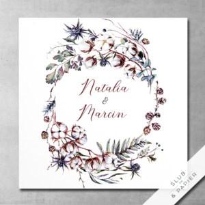 Kwiaty bawełny - zaproszenia ślubne