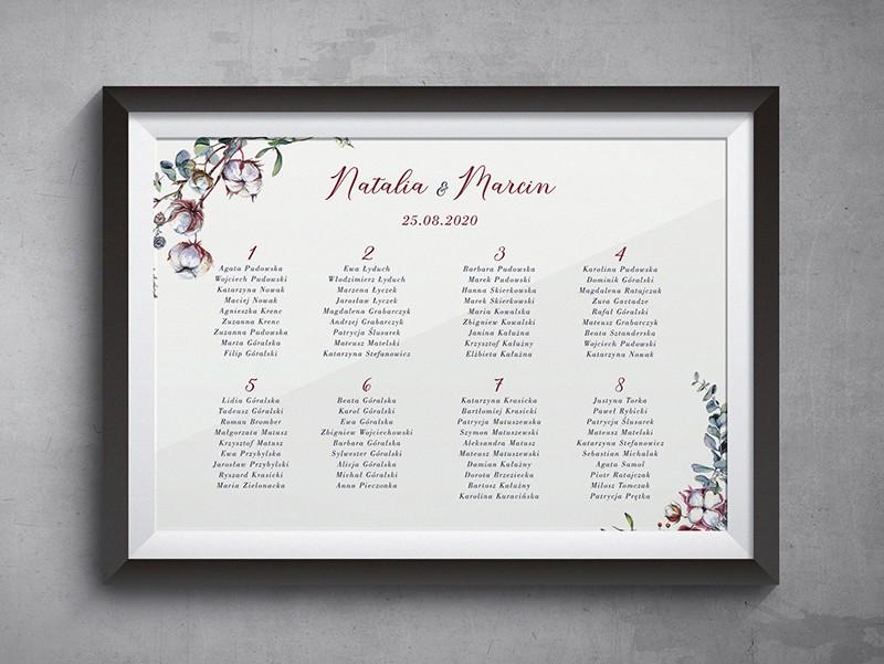 Kwiaty bawełny Plan stołów