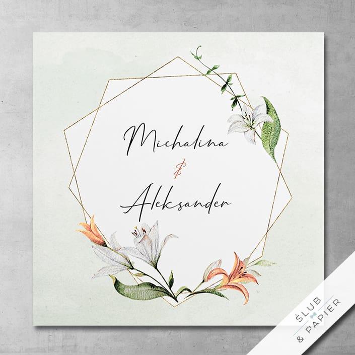Lilie i kryształ - Zaproszenia ślubne