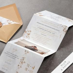 Marmurowa harmonijka - zaproszenia ślubne
