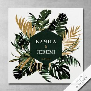 Zielone palmy - Zaproszenie ślubne