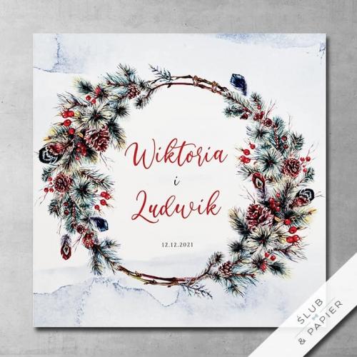 Zimowy Wianek - zimowe zaproszenia 艣lubne