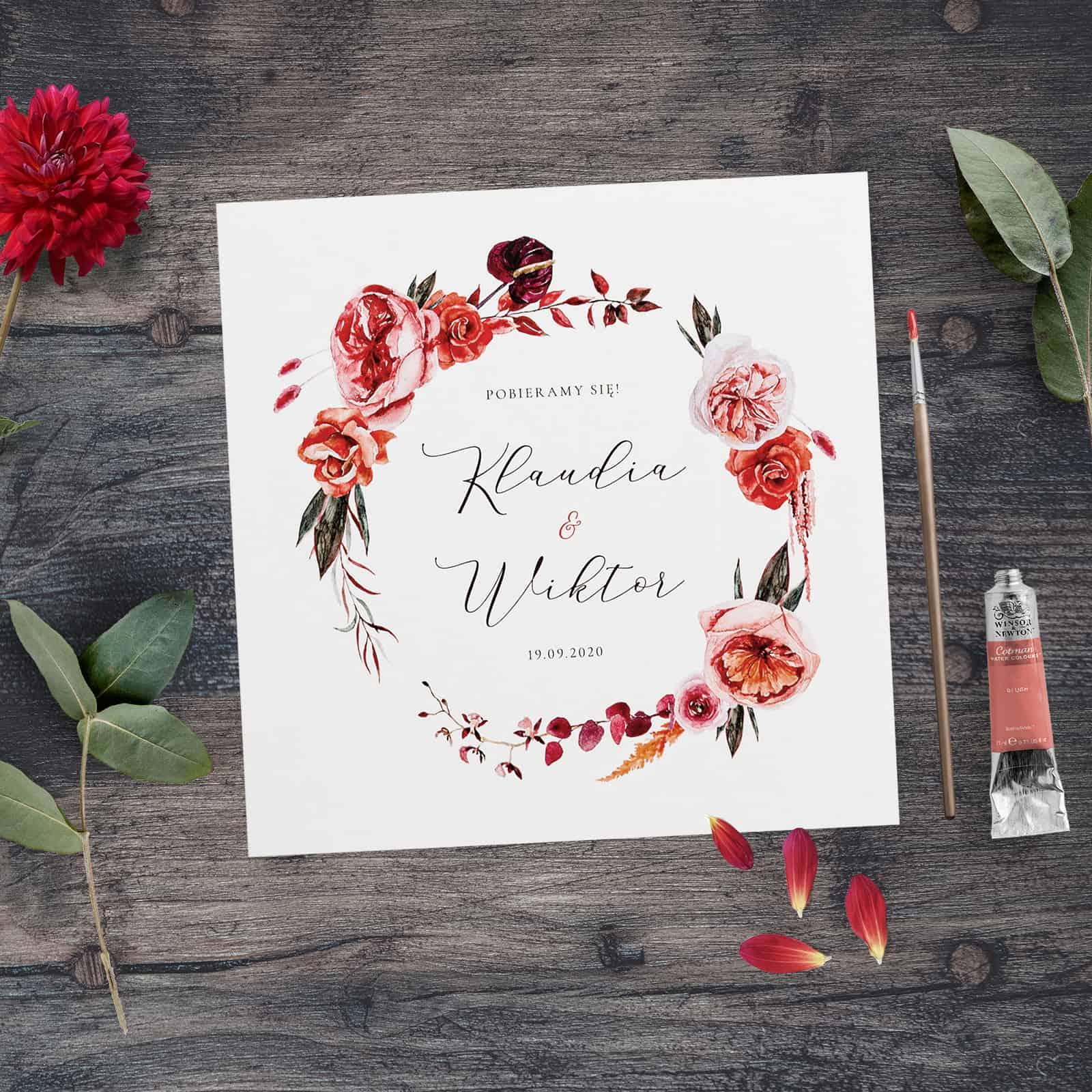 Barwy jesieni - zaproszenia ślubne.