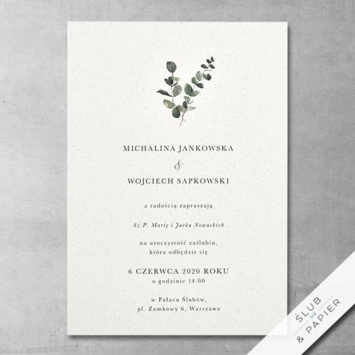 Zaproszenie 艣lubne Minimalistyczny Eukaliptus