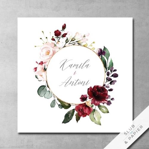 Zaproszenie 艣lubne Bordowe kwiaty