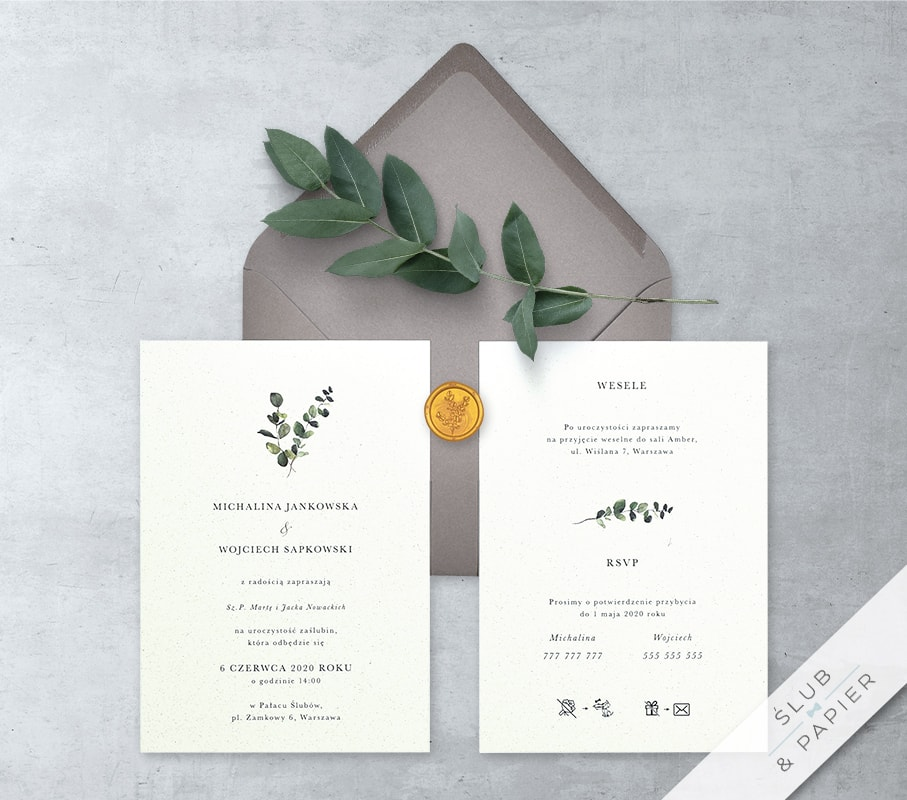 Zaproszenie ślubne Minimalistyczny Eukaliptus Zdjęcie Główne