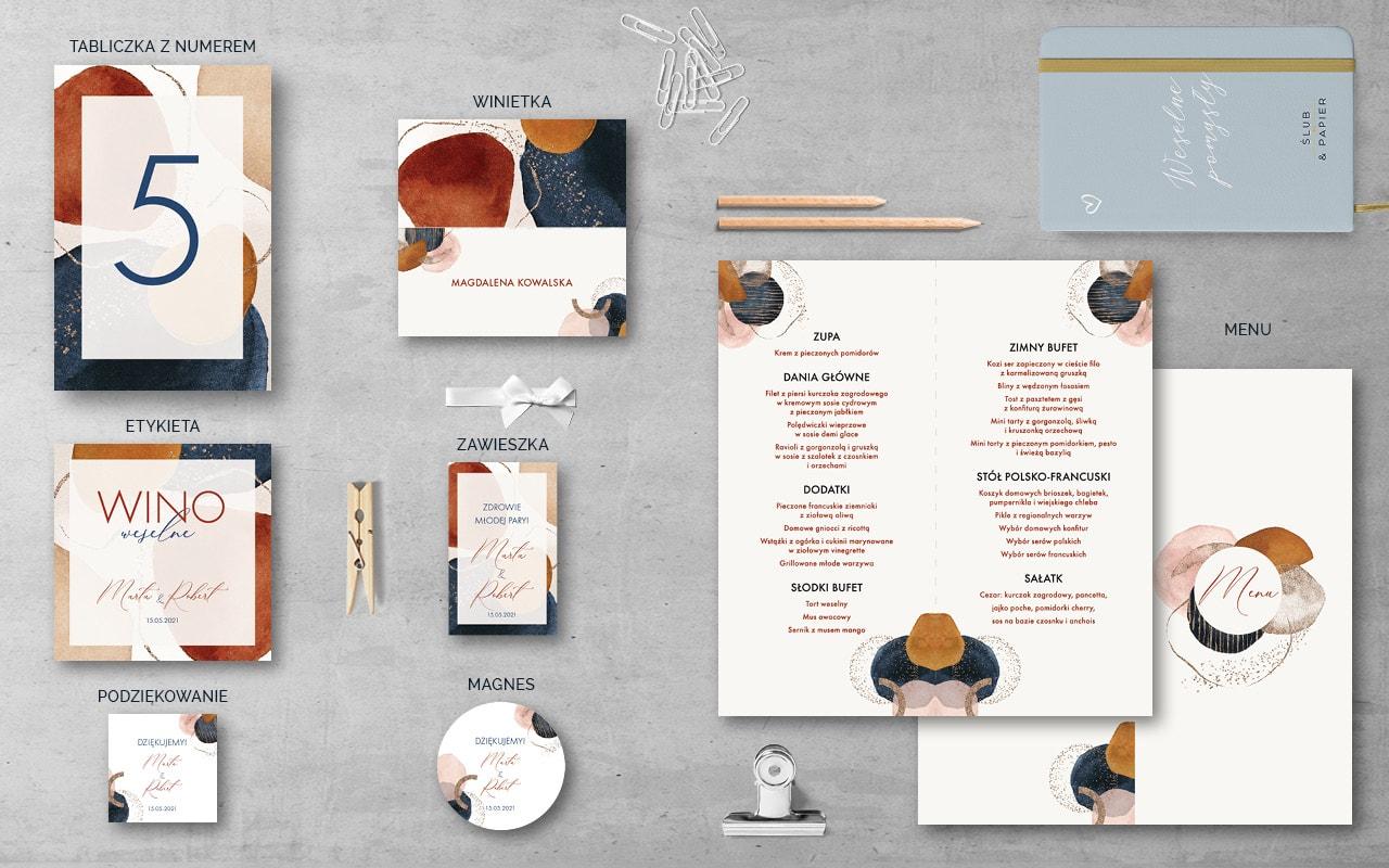 Dodatki weselne do zaproszenia Abstrakcyjne