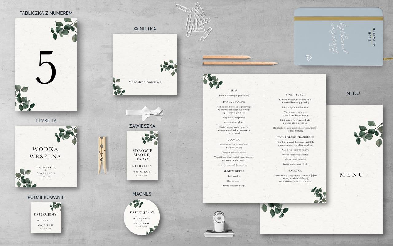 Dodatki weselne do zaproszenia Eukaliptus khaki