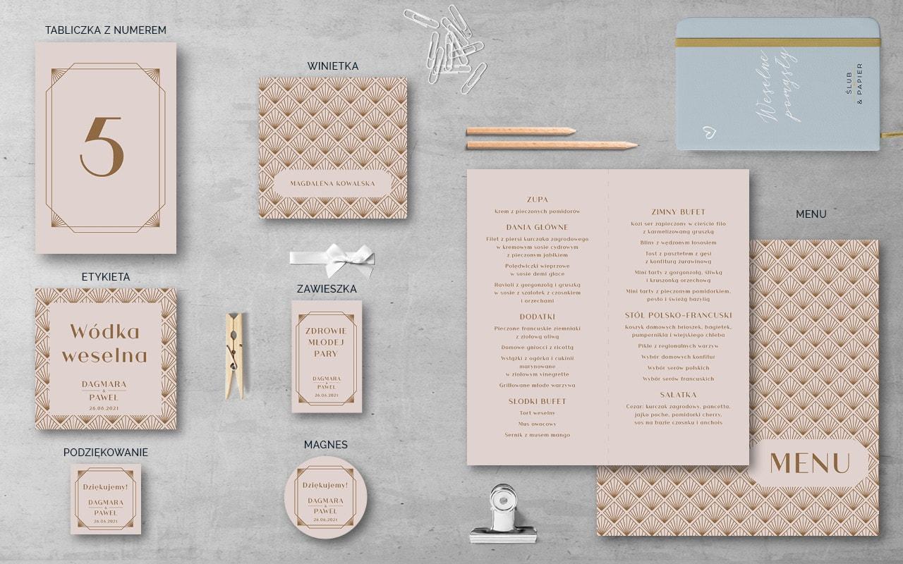 Dodatki weselne do zaproszenia Pudrowe złoto