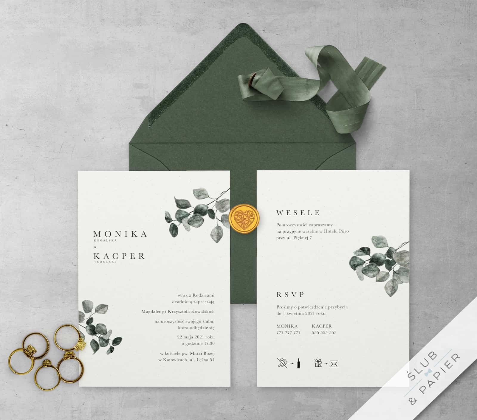 Zaproszenie ślubne Eukaliptus Khaki