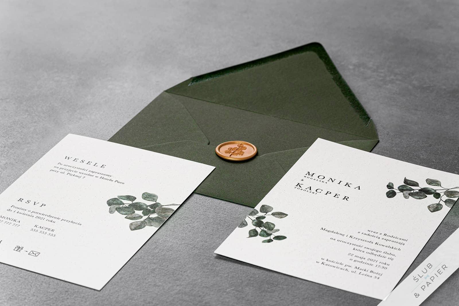 Zaproszenie ślubne Eukaliptus Khaki Leżące