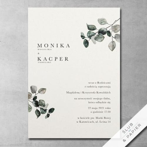 Zaproszenie 艣lubne Eukaliptus khaki