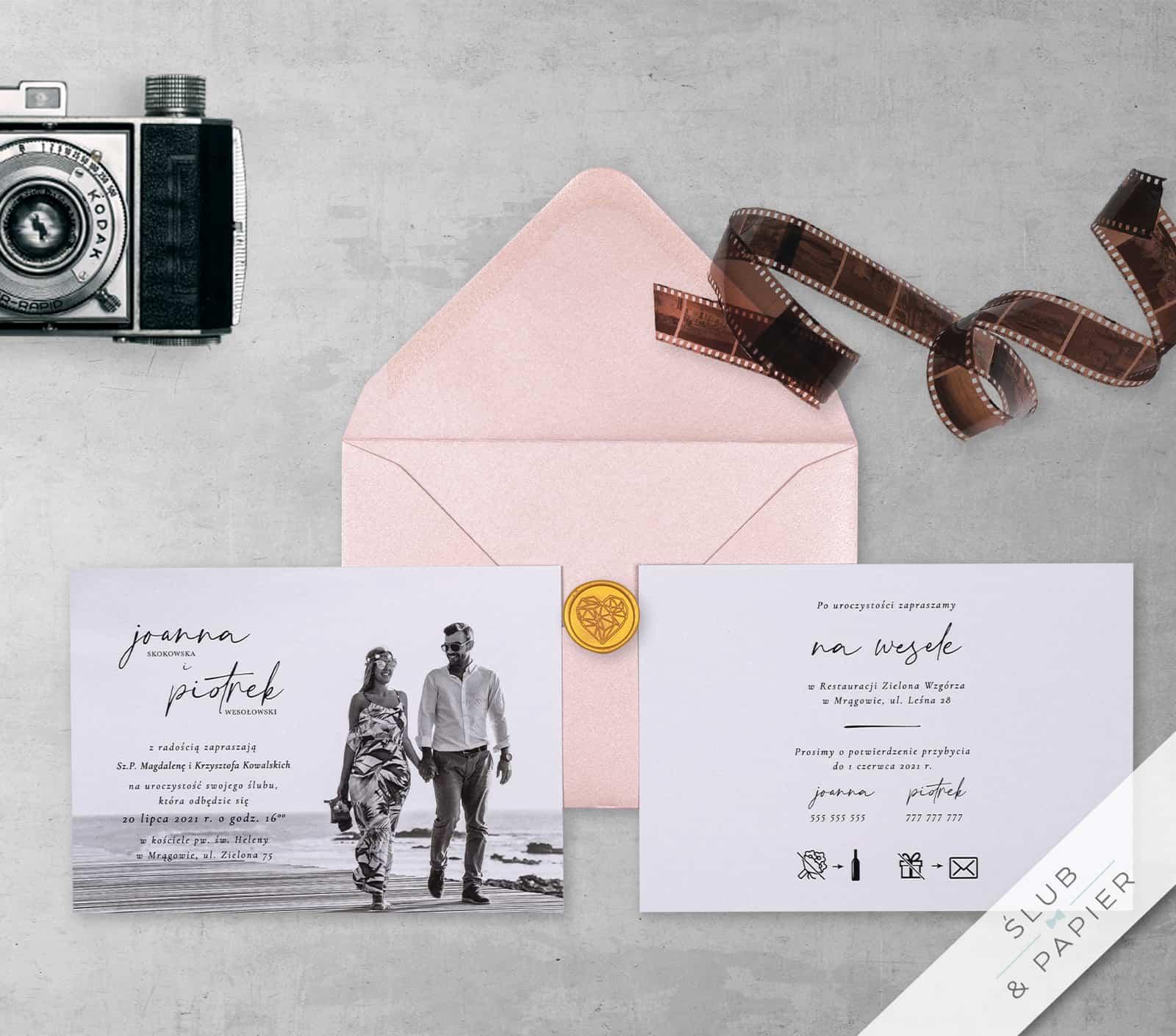 Pamiątkowe - zaproszenie ślubne z góry