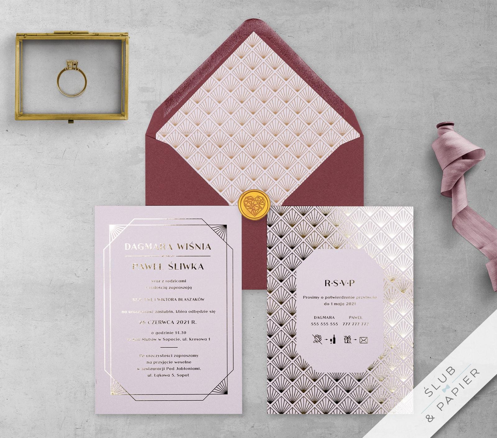 Zaproszenia ślubne Pudrowe złoto - z góry