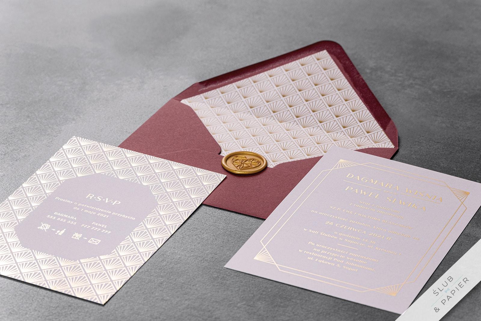 Zaproszenia ślubne Pudrowe złoto - leżące