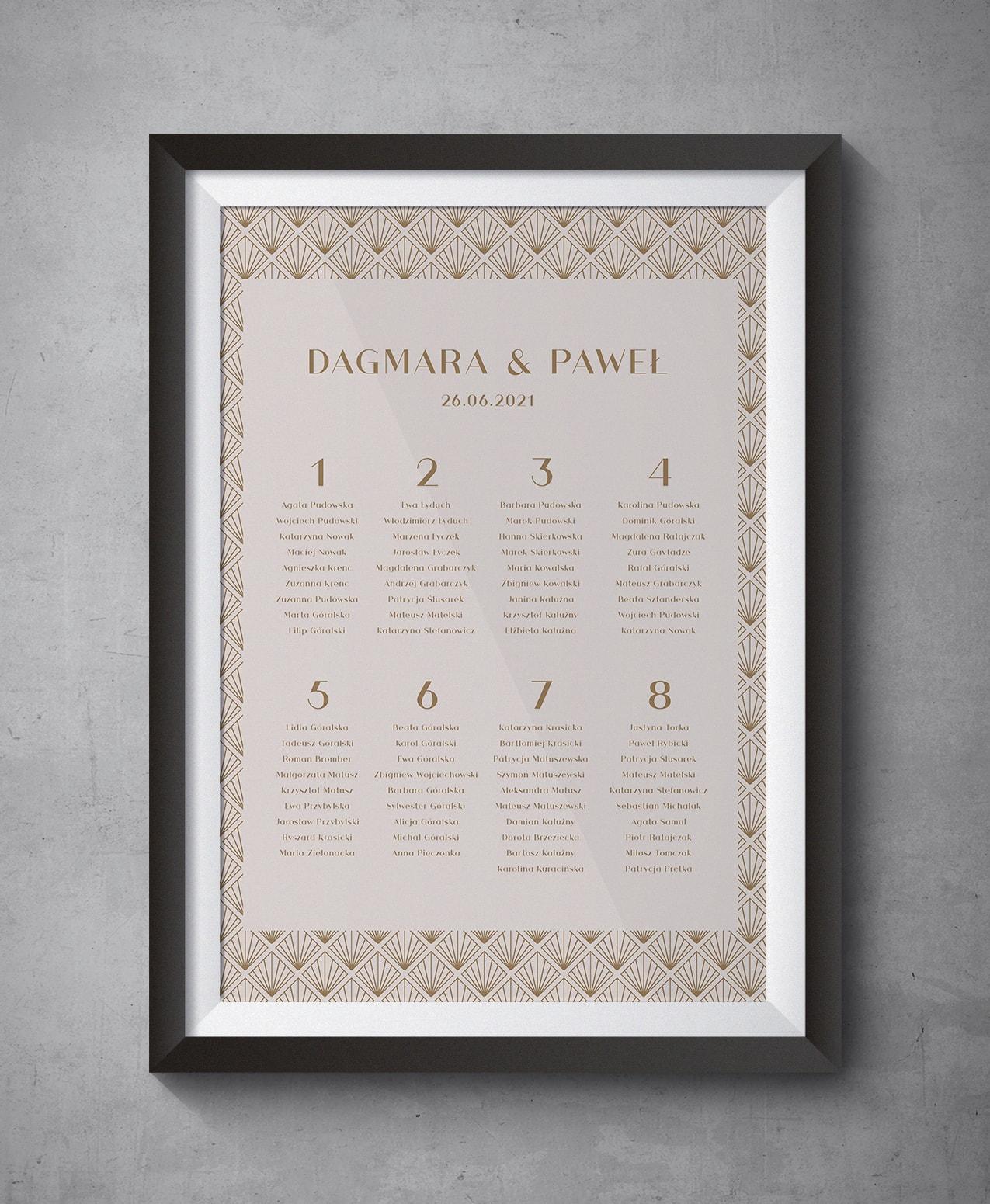 Plan stołów weselnych do zaproszenia Pudrowe złoto
