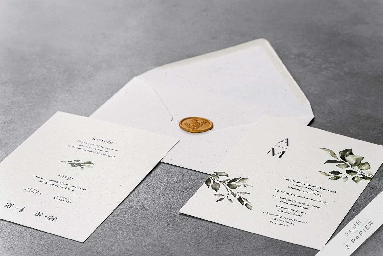 Zaproszenie ślubne Subtelne Leżące