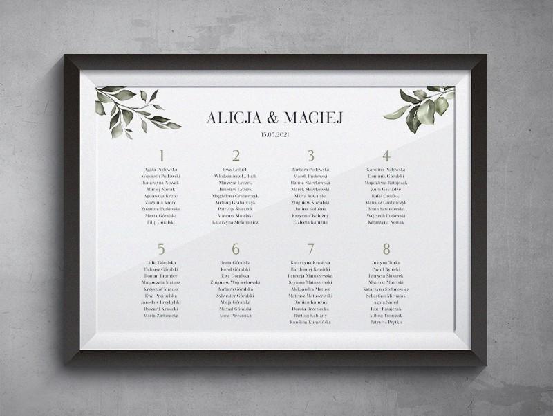 Plan stołów weselnych do zaproszenia Subtelne
