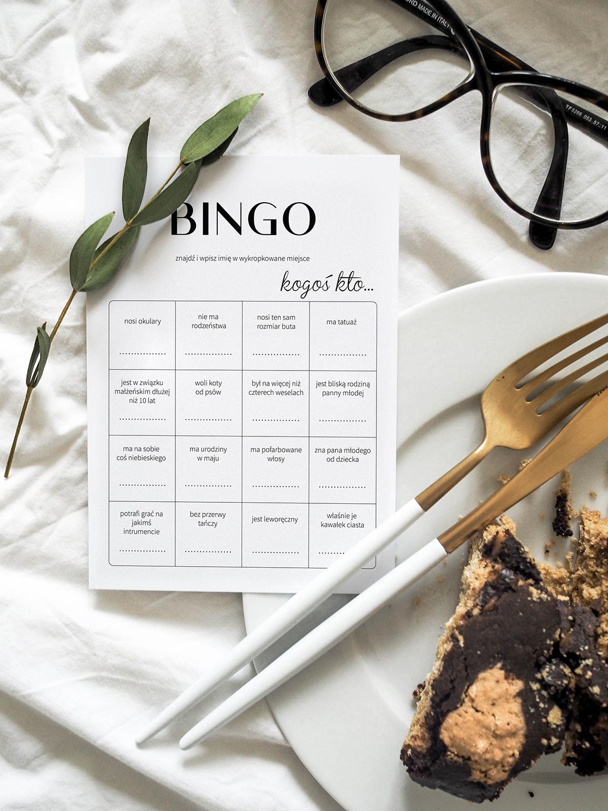 Weselne karty bingo na papierze kredowym