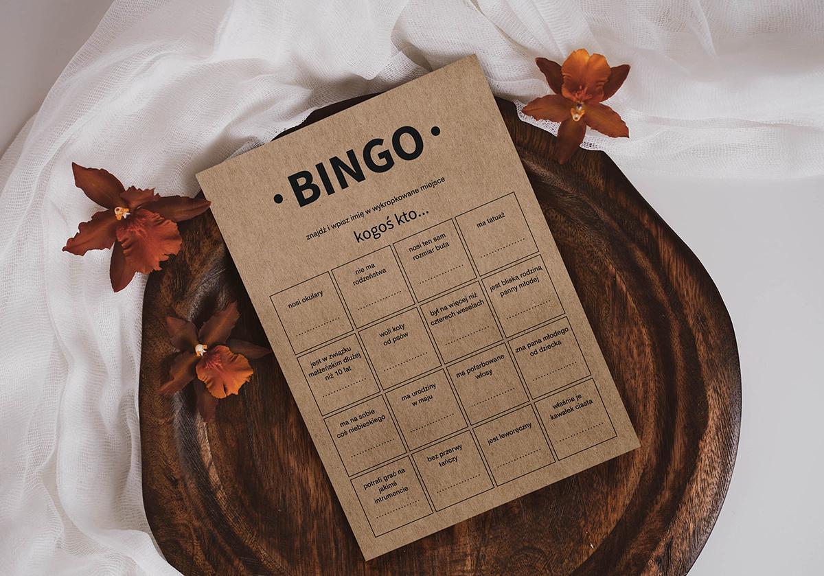 Weselne karty bingo na papierze ekologicznym