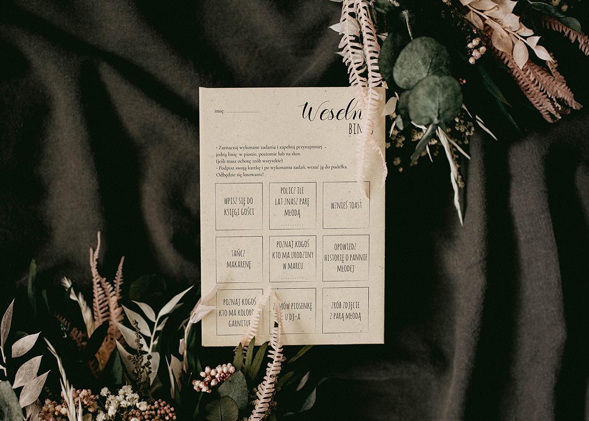 Weselne karty bingo na papierze kukurydzianym