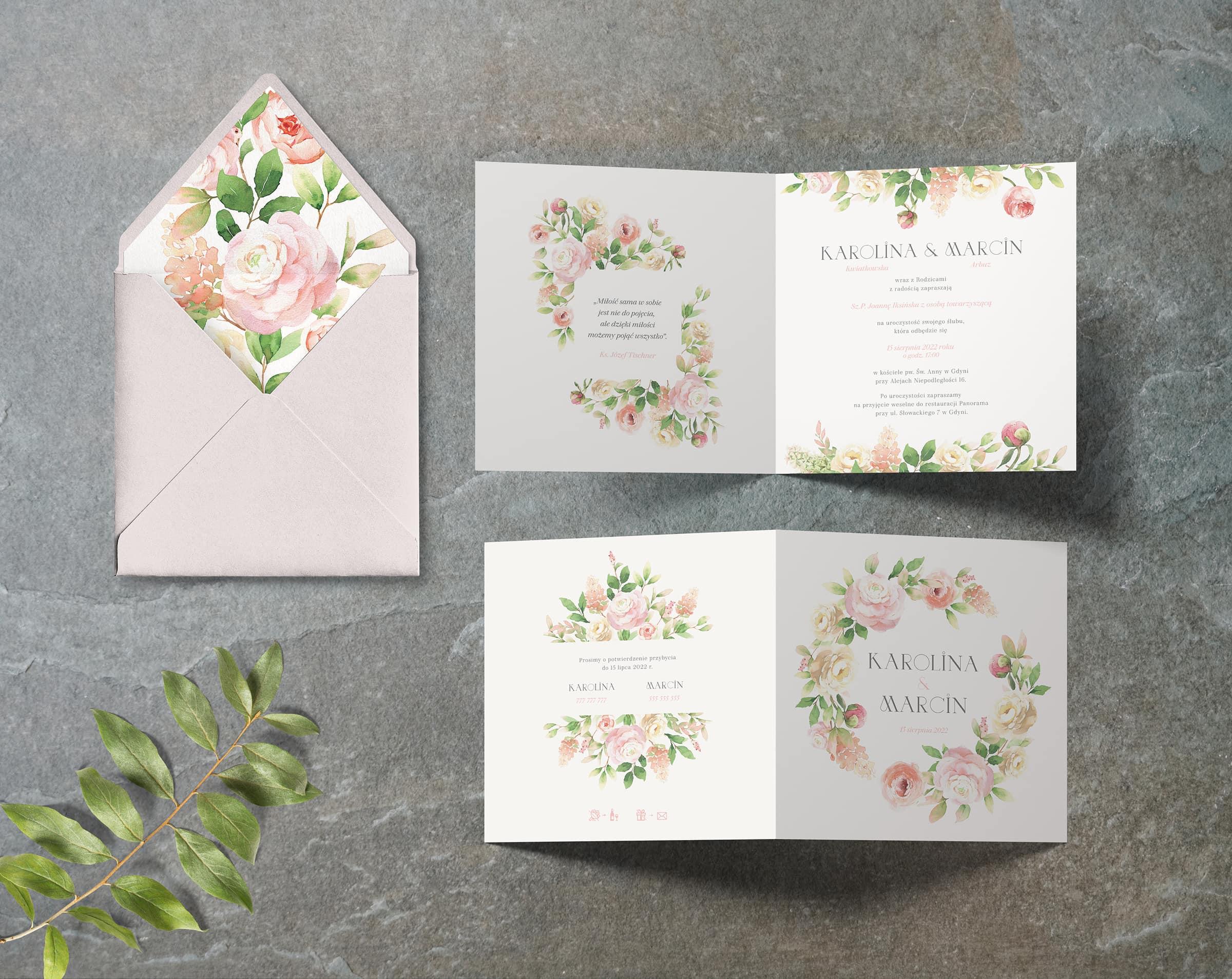 Akwarelowy bukiet zaproszenie na 艣lub i wesele
