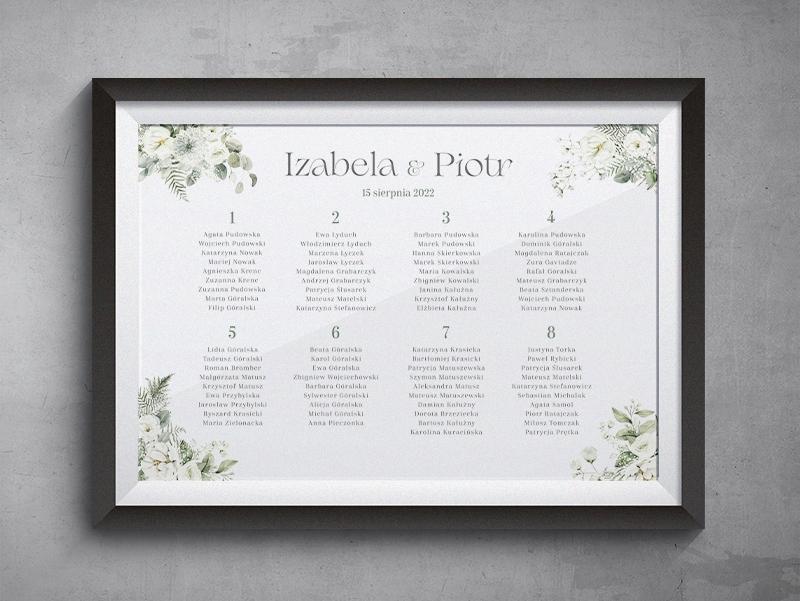 biale kwiaty - Plan stołów