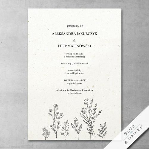 Zaproszenie 艣lubne Delikatne kwiaty