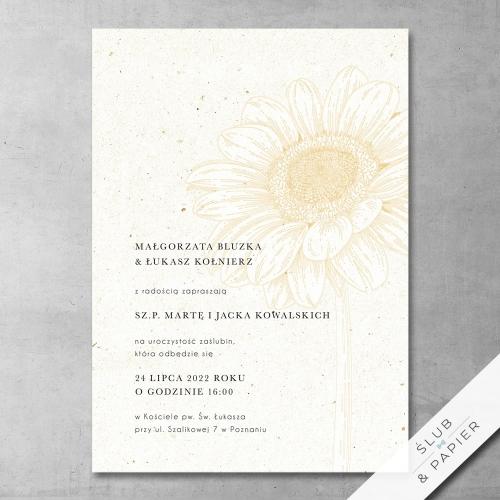 Zaproszenie 艣lubne minimalistyczny s艂onecznik - zdj臋cie pogl膮dowe
